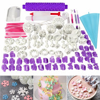 Facemile 94pcs Cake Decorating Tools Plunger Fondant Cake Pastry Cutters Baking Tools Dough Roller Rolling Pin Full Set 74022