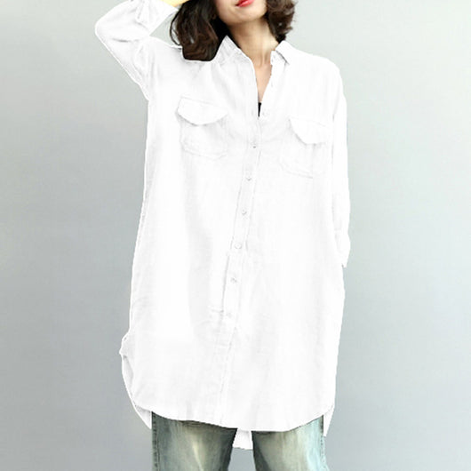 2018 ZANZEA Women Lapel Neck Buttons Down Solid Boyfriend Blouse Loose Asymmetric Hem Cotton Linen Baggy Long Shirt Vestido 5XL