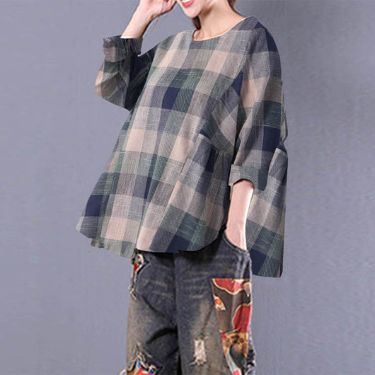 2018 Spring ZANZEA Women Cotton Linen Plaid Checked Long Sleeve Vintage Pleated Loose Blouse Casual Ruffles Top Party Shirt 5XL