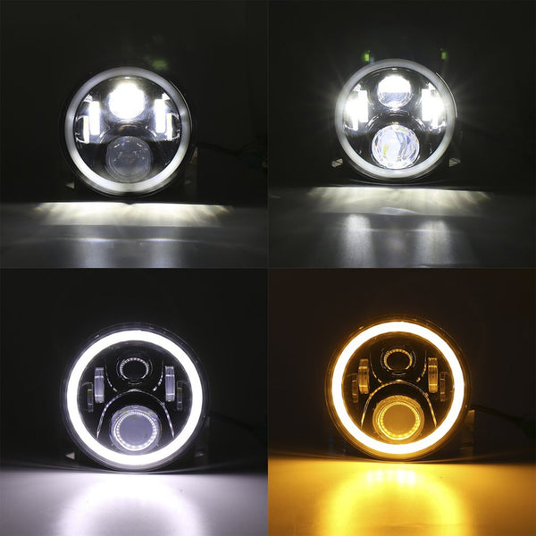 7 Inch LED Headlight Round Shape Refitting Headlight Halo Projectors and Halo Fog Lights for Jeep for Wrangler
