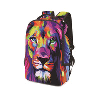 Student's Backpack Printing 3D Lion School Bag Shoulder Bookbag