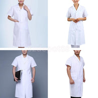 Men Women Scrubs Lab Coat Medical Nurse Doctor White Coat Uniform Short Sleeve