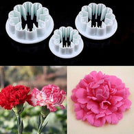 New 3Pcs/Set Blossom Carnation Flower Fondant Cake Sugarcraft Gum Paste Cutter Plunger Christmas Cake Decorating Tools