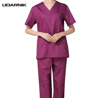 Women Medical Clothing Tops Trousers Two Pieces Set Cotton Short Sleeve Doctor Nurse Uniform Hospital Scrubs Lab Coat SMT-A056