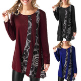 Women Print Patchwork Long Sleeve T-Shirt O-neck Pullover Blouse Tops