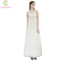 SSYFashion New Simple Travel Wedding Dress The Bride Married White Lace Appliques Sleeveless Tulle Lithe Long Wedding Party Gown