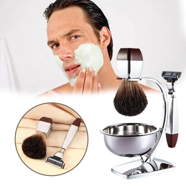 4 in 1 Men's Shaving Set Bristle Shaving Brush + Bowl + Safety Razor + Brush Frame Stand Professional Beard Shaver Kit