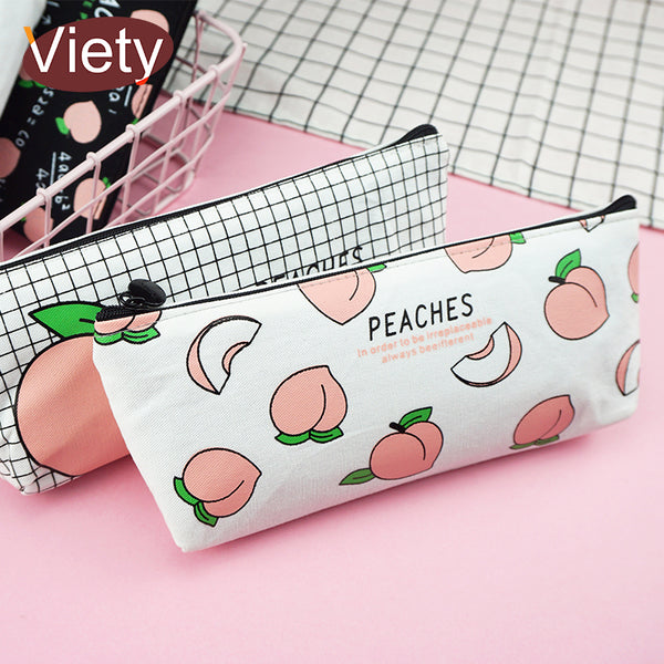 New canvas Fruit Peach pencil case school pencil cases for girl stationery canvas pencil bag estojo escolar school supplies