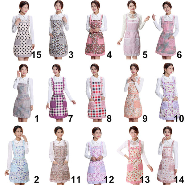 Women Apron with Pockets Waterproof Plaid Print Kitchen Double Layer Anti-oil Aprons Kitchen Cooking Thick Cloth Home Supplies