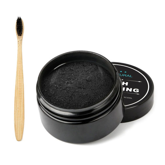 30g Activated Organic Charcoal Teeth Powder + Toothbrush Set Whitening Cleaning Teeth Power Stain Removing Teeth Powder