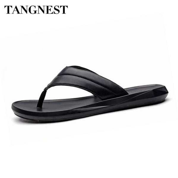 Tangnest NEW 2018 Summer Men Flip Flops Casual PU Leather Platform Flats Shoes Men Beach Comfortable Sandals Black White