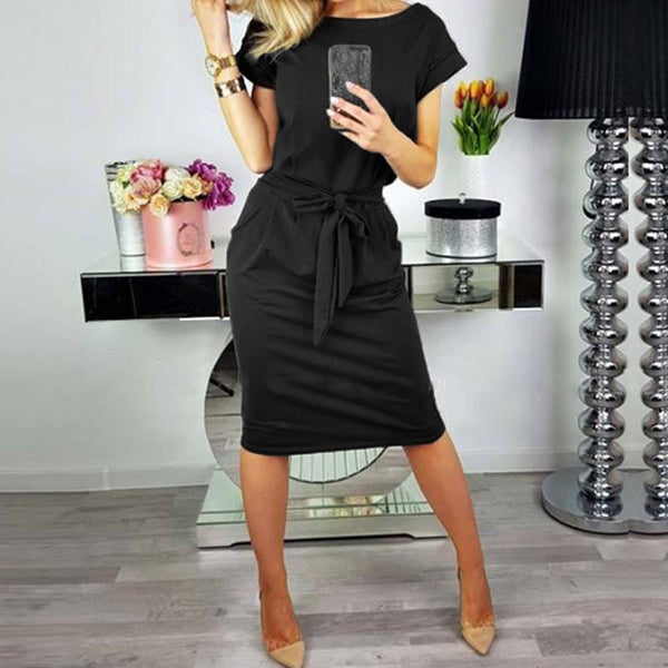 2018 ZANZEA Summer Women Sexy O Neck Short Sleeve Bodycon Work Dress Casual Belt Slim Party Skinny Solid Vestido Plus Size