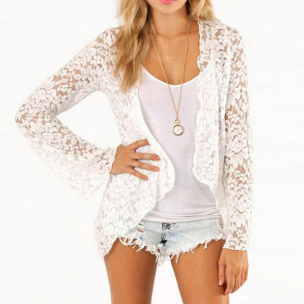 ZANZEA Women Summer Lace Blouse Long Sleeve Short Open Front Cardigan Casual Top Floral Shirt Beach Cover Up Chemise Femme 5XL