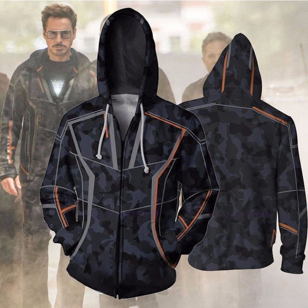 Mens Hoodies for Avengers Infinity War Iron Man Tony Stark Cosplay Coat Zipper Up Jacket Sweatshirts Costumes