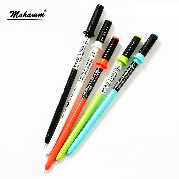 4 Pcs/lot Cute Kawaiii Japanese Samurai Sword Gel Ink Pen 0.5mm Black Ink School Kids Writing Supply Stationery