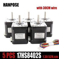 Free shipping by DHL 5pcs 4-lead Nema17 Stepper Motor 48mm 1.3a  52N.cmNema 17  motor 42BYGH(17HS8402)  motor for CNC 3D printer