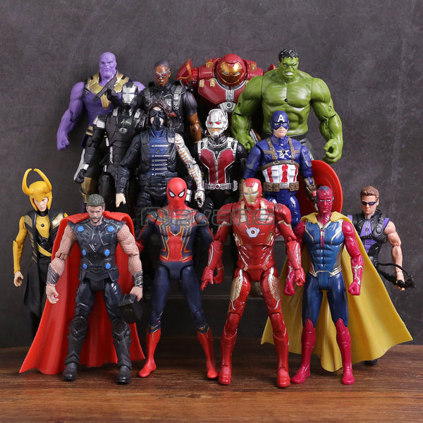Avengers 3 Infinity War Thanos Iron Man Captain America Vision Thor Loki Hulkbuster Spiderman PVC Figures Toys 14pcs/set