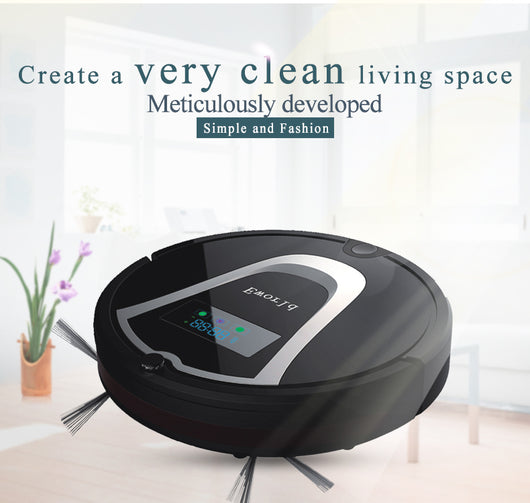 Eworld Mini Automatic Robot Vacuum - Black M884 with  Mop ,Remote Controler and Cleaning Brush