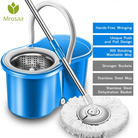 360 rotating mops Kitchen floor cleaning Portable stainless double-drive hand pressure spin Microfibre Fabric head with bucket