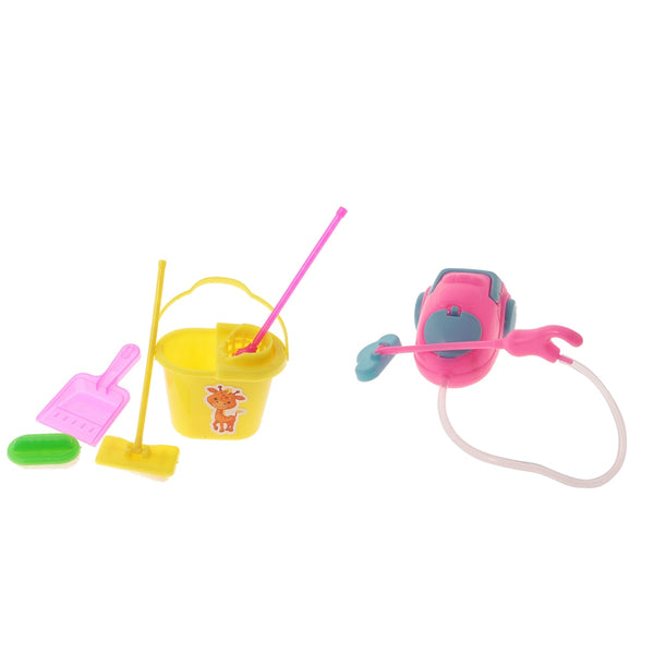 6Pcs Miniature Furniture Vacuum Cleaner Mop Bucket Cleaning Tools for Barbie