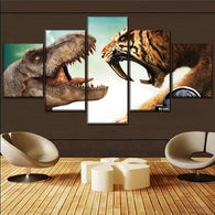 Modern Wall Art Painting Canvas Print Movie Poster Home Decorative 5 Piece Jurassic World 2 Dinosaurs Vs Animals Tiger Picture