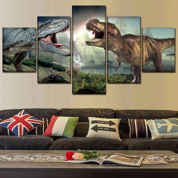 Canvas Print Movie Poster 5 Piece Jurassic World 2 Dinosaurs Pictures Modern Wall Art Painting Home Decorative Modular Framework
