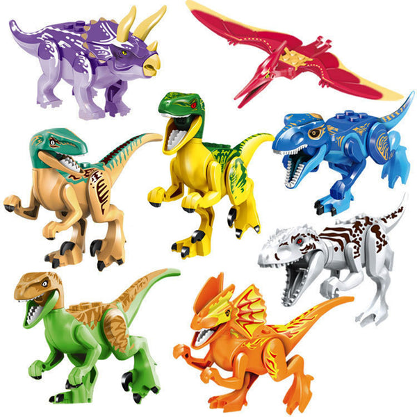 2 Styles 8pcs/set Dinosaurs Jurassic World Dinosaurs Figures Jurassic Building Tyrannosaurus Blocks Classic with Legoe Kids Toy