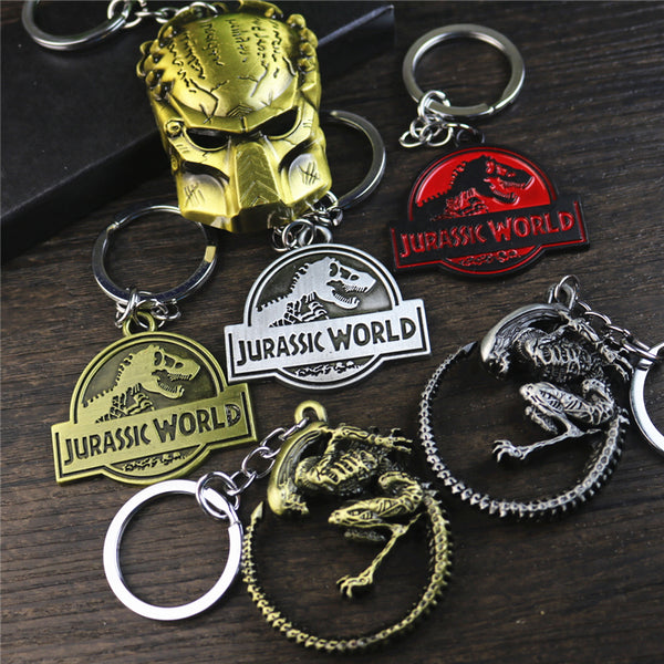 New movie Jurassic world 2 key chain, dinosaur park, school bag, pendant, male and female metal jewelry