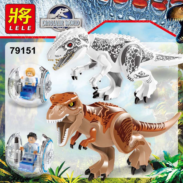 2 sets Jurassic World Tyrannosaurus Building Blocks Jurrassic Dinosaur Figures Bricks QUNLONG Zoo Toy for Kids