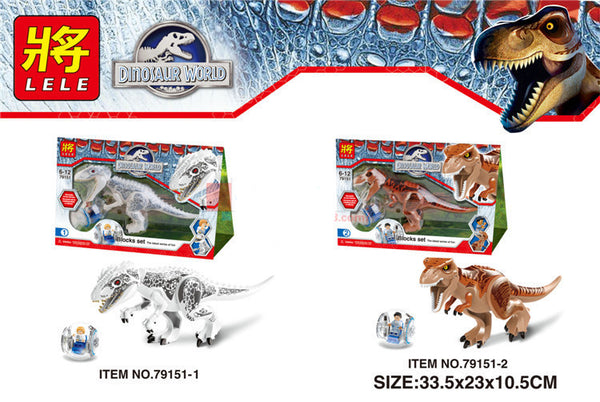2018 New LELE 79151 2 Pcs Jurassic World Indominus Rex T. Rex Building Blocks toys Dinosaur Hero Figure Compatible With Lego