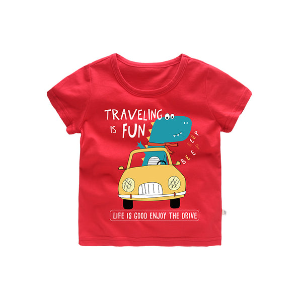 jurassic world Cartoon Dinosaur Car kids clothes tee shirt boys tops tshirt funny tiny cotton Red Green Navy Olive 2 3 4 5 6 7 t