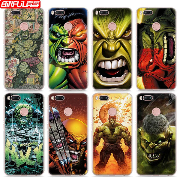 BiNFUL Hot Sale The Incredible Hulk style clear hard mobile phone shell Case for Xiaomi Mi 6 5X A1 5s for Redmi 4x 4A Note3 Note