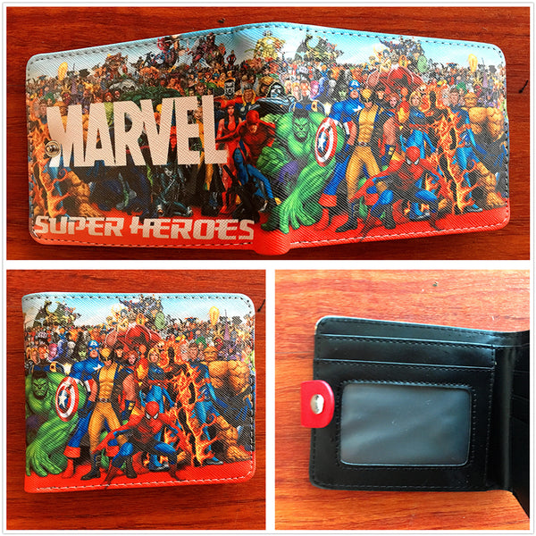 America marvel film wallet super heroes spider man captain America The Incredible Hulk ant man wallet short PU purse W690