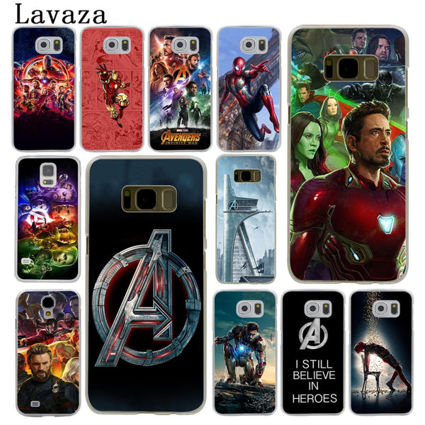 Lavaza The Avengers Infinity War Marvel Hard Phone Shell Case for Samsung Galaxy S7 S6 Edge S3 S4 S5 & Mini S8 S9 Plus Iron Man