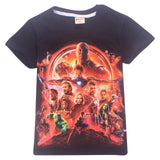 New summer pure cotton t shirt Infinity War Avengers girls tops tee cartoon 3d printing boys t shirts bobo choses kids clothes