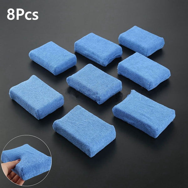 8pcs/lot Blue Microfiber Towel Pads Cleaning Towels Kitchen Applicator Sponge Pads Car Wash Wax Polishing Detailing ZXY9458