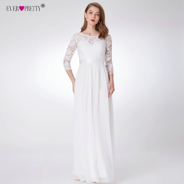 Ever Pretty Wedding Dresses New Elegant A-line Lace Long Beach Vintage Mariage Bridal Dress with Sleeve vestido de noiva EP07412