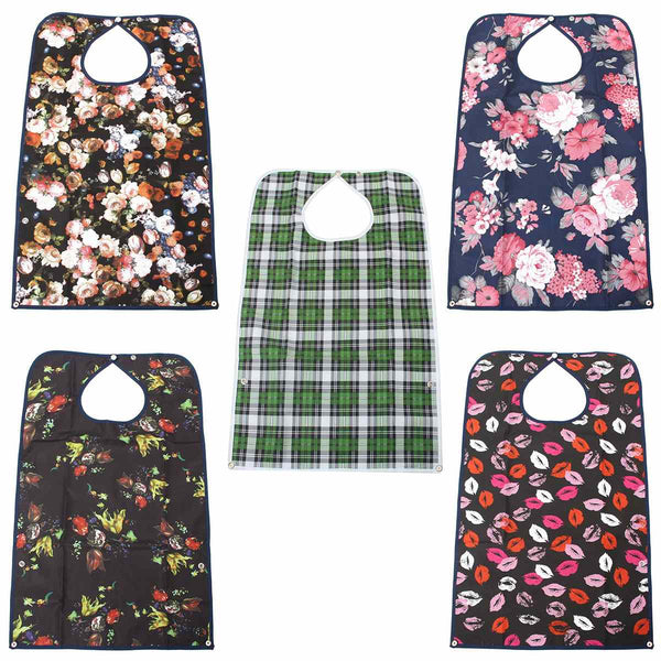 Waterproof PVC Detachable Bib Adult Mealtime Cloth Protector Disability Aid Aprons