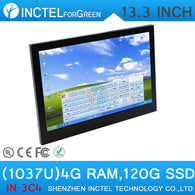 13.3 inch resistive All-in-One touchscreen embeded PC 4G RAM 120G SSD Windows XP 7 8 with Intel Celeron C1037U 1.8Ghz