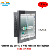 Partaker Elite Z13 15 Inch Made-In-China 5 Wire Resistive Touch Screen Intel Celeron 3855u OEM All In One Pc with 2 COM