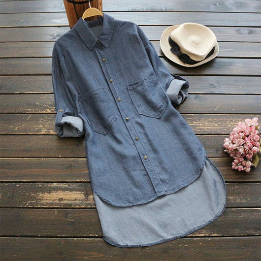 2018 ZANZEA Women Denim Blue Lapel Neck Long Sleeve Casual Blouse Solid Baggy Work OL Solid Top Buttons Down Long Shirt Vestido