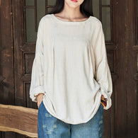 Plus Size Zanzea Women Spring O Neck Lantern Sleeve Solid Loose Casual Baggy Blouse Cotton Linen Shirt White Top Pullover