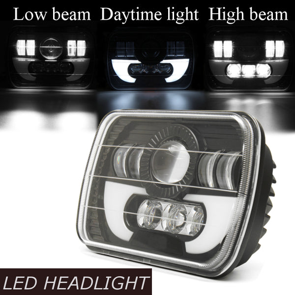 7x5Inch 3 in 1 H4 Car LED Headlight Set Hi/low Beam Square LED Daytime running Lamp DRL LED Light for Jeep for Wrangler YJ XJ