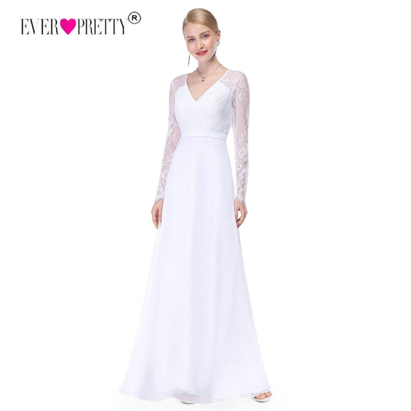 Ever Pretty Illusion Long Sleeve Wedding Dresses Lace A Line V Neck Simple Bridal Dresses 2018 Vestido Noiva Praia Casamento