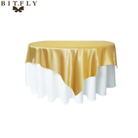 228*228cm Square Satin Fabric Tablecloth Rectangular Table Cloth Cover For Wedding Party Events Restaurant Banquet Decorations