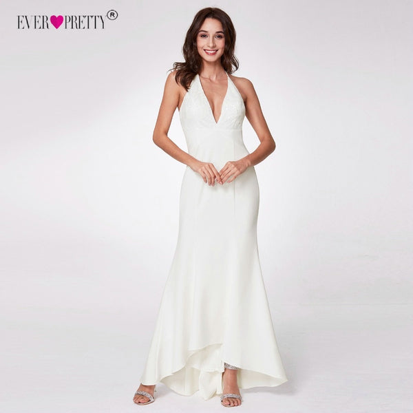 Ever Pretty Robe de Mariage Vintage Mermaid Wedding Dress 2018 Lace White V-neck Backless Mariage Bridal Gowns Vestido de Noiva