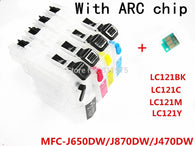 4 color LC121refillable Ink cartridge  Empty for Brother MFC-J650DW/MFC-J870DW/MFC-J470DW printers with permanent chip