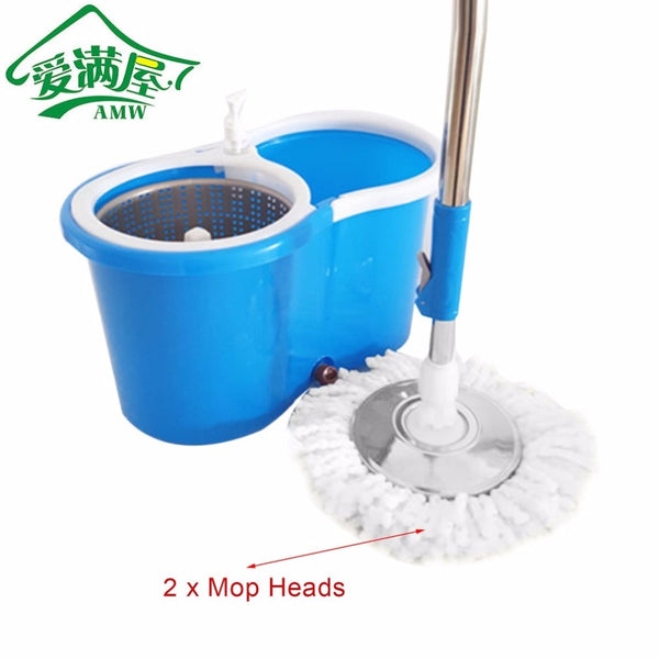 AMW 360 Rolling Magic Floor Spin Mop Hands-free Spin Mop Bucket Set Foot Pedal Rotating Floor Mop with 2 Microfiber Mop Heads