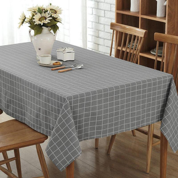 Lattice Print Polyester Cotton Table Cloth Dustproof Bar Restaurant Dinning Table Cover Tablecloth for Kitchen Home Decor