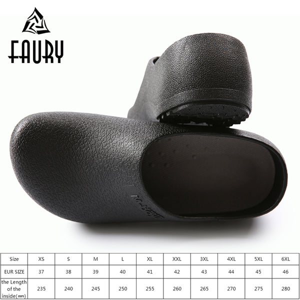 Unisex Professional Cleanroom Kitchen Cooking Work Shoes Flat Anti-slip Black Restaurant Hotel Chef Shoes Sandals Beach Slippers